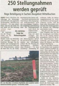 Artikel Hanauer Anzeiger: 250 Einwendungen werden geprüft